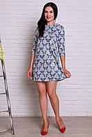 Интерессное повседневное платье прямого кроя с модным принтом из ангоры