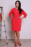 Очень красивое праздничное платье кораллового цвета с золотистым украшением на груди