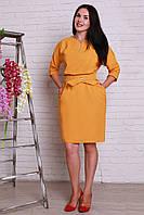 Строгое платье прямого фасона больших размеров с пояском на талии