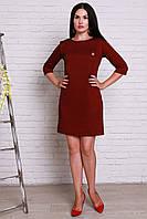 Недорогое повседневное платье из трикотажа в модную гусиную лапку