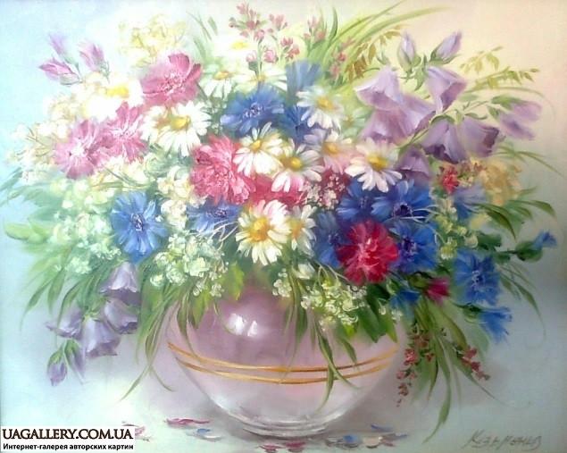 Картина маслом цветы картинная