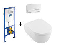 Система инсталляции ViConnect + Е200 клавиша хром + подвесной унитаз 5656HR01 Avento Direct Flush