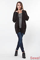 Женская вязаная длинная кофта-накидка без застежки | Черная