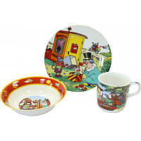 """Детский набор посуды из фарфора """"Фунтик"""" 3 предмета"""