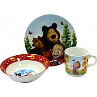 """Детский набор посуды из керамики """"Маша и медведь"""" 3 предмета"""