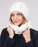 Стильный женский комплект - шапка и шарф-хомут 3001 (молочный)
