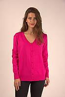 Молодежная женская кофточка розового цвета на пуговицах