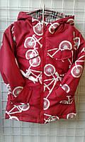 """Детская куртка парка для девочек """"Велосипед"""" 92-116"""