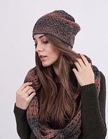 Красивый женский комплект - шапочка и хомут 3024 (оранжевый меланж)