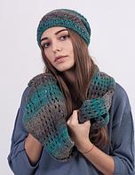 Модный женский комплект - шапочка и шарф-хомут 3024 (бирюзовый меланж)