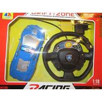 Синяя полицейская машина с рулем-пультом, аккум