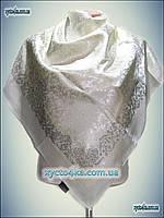 Атласный однотонный платок с камнями шампанское или белый принт 2016