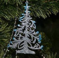 Новогоднее украшение Елочка плоская микс 0344