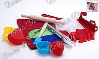Детский набор для выпечки (10предметов): 1шт фартук 4шт мини-форм для выпечки 1шт мини-щипцы стальные 1шт веничек 1шт скалка 1шт мини-лопатка