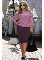 Женская блуза Ирма рукав 3/4 масло цвет фрез до 72 размера