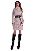 Женское бежевое стеганое осеннее пальто арт. Андрия