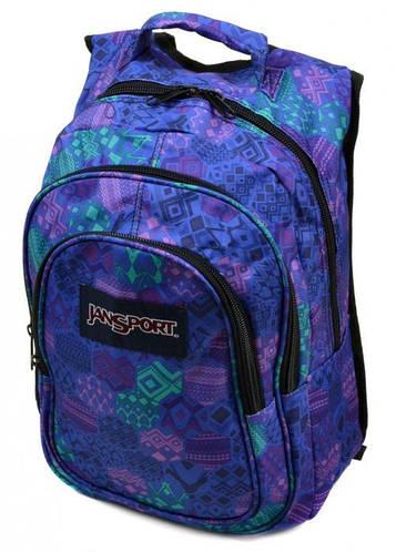 Современный городской рюкзак для занятий 28 л. Jansport 3333-12 3d синий/фиолетовый