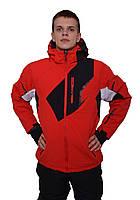 Мужская красная горнолыжная куртка с черными и белыми вставками