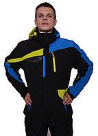 Мужская горнолыжная куртка с синими и желтыми вставками