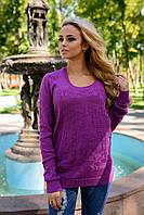 Женский вязаный свитер тонкая вязка и стильный орнамент размеры С М Л