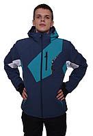 Мужская спортивная горнолыжная куртка темно-синяя с голубыми вставками