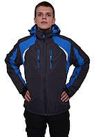 Мужская спортивная горнолыжная куртка черная с синими вставками