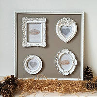Коллаж деревянный на 4 фото с рамками из искусственного камня