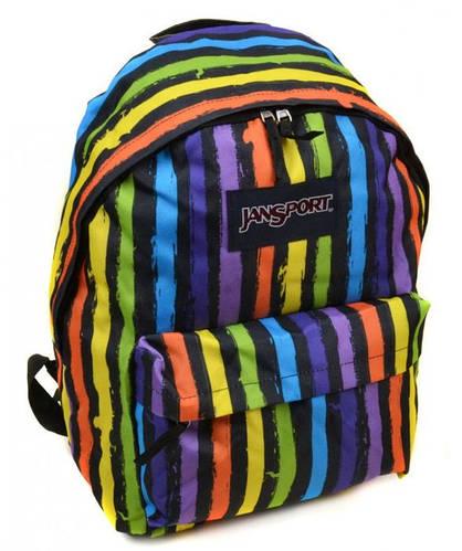 Яркий рюкзак в полоску для города и школы 28 л. Jansport 3334-9501-1 3d разноцвет