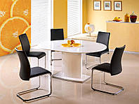 Овальный белый стол Halmar Federico с лакированной столешницей