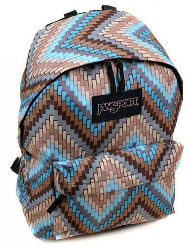 Идеальный городской рюкзак для девушек 28 л. Jansport 3334-9059-4 3d голубой/орнамент