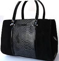 Элегантная сумка чёрного цвета из натурального замша и кожи от  Velina Fabbiano