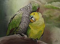 """Картина настенная """"Парочка попугаев"""",40х30. Масло, холст."""
