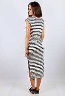 Платье женское длинное с разрезом №219F002 (Серо-черный)