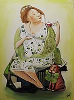 """Картина настенная """"Чаепитие"""",40х30. Масло, холст."""