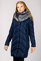 Молодежная куртка пальто пуховик женская с мехом чернобурки и капюшоном Chanevia