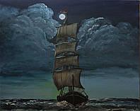 """Картина настенная """"Парус под луной"""",40х50. Масло, холст."""