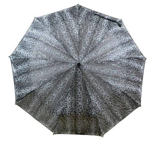 Элегантный женский зонт полуавтомат, антиветер 1243-6 металик/принт