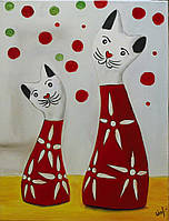 """Картина настенная """"Коты. абстракция"""",40х30. Масло, холст."""