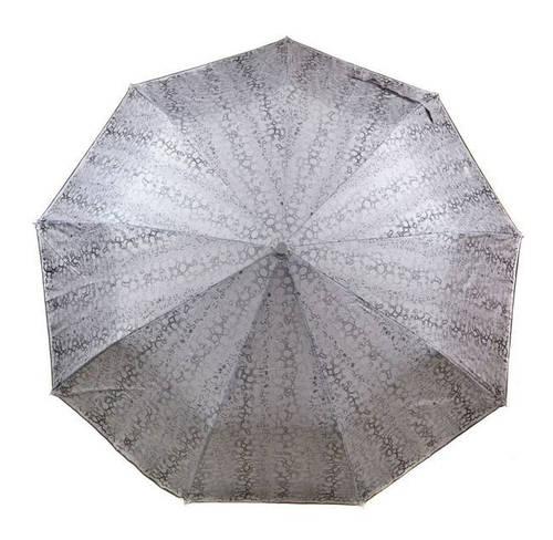 Надежный женский зонт с ветрозащитой, полуавтомат 1243-5 светлый металик/принт