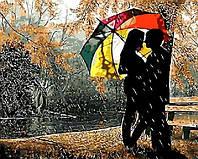 """Картина раскраска по номерам без коробки """"Под разноцветным зонтом""""  40 х 50 см"""