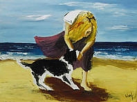 "Картина настенная ""На берегу"",40х30. Масло, холст."