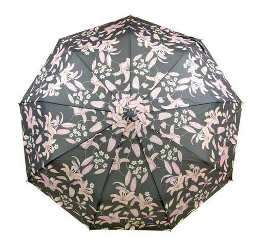 Современный женский зонт с ветрозащитой, полуавтомат 756-1 черный/цветы