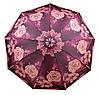 Безупречный женский зонт с ветрозащитой, полуавтомат 756-10 фиолетовый/цветы