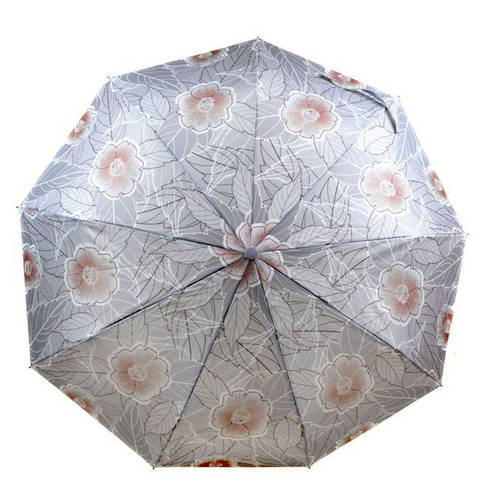 Интересный зонт с ветрозащитой для леди, полуавтомат 756-3 серый/цветы