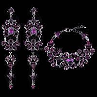 Свадебная бижутерия для невесты с фиолетовыми камнями