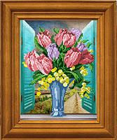 """Рисунок - схема для вышивания бисером """"Тюльпаны на окне"""" МА-011"""