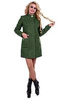 Женское зеленое осеннее пальто арт. Мелини букле