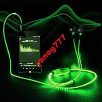 Наушники с LED проводами и микрофоном