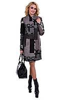 Модное демисезонное пальто женское арт. Марис шерсть принт