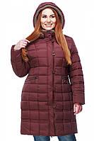 Женская зимняя удлиненная куртка Ангелина с вязаными вставками на капюшоне и воротнике 50-52 рр